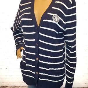 Lauren Ralph Lauren Blue & White Striped Cardigan